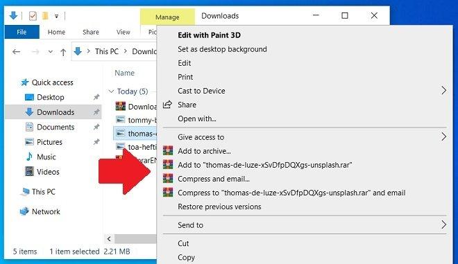 Integración en el explorador de archivos