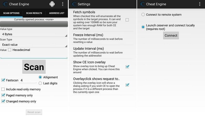 Interface of Cheat Engine for Android