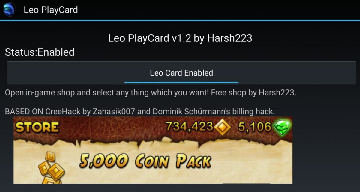 Interface of Leo PlayCard for Android