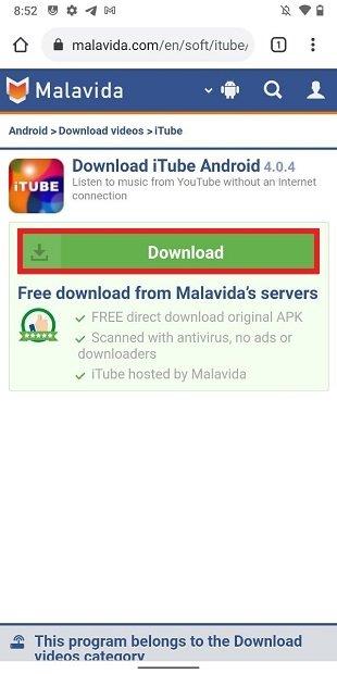 Page de téléchargement de iTube