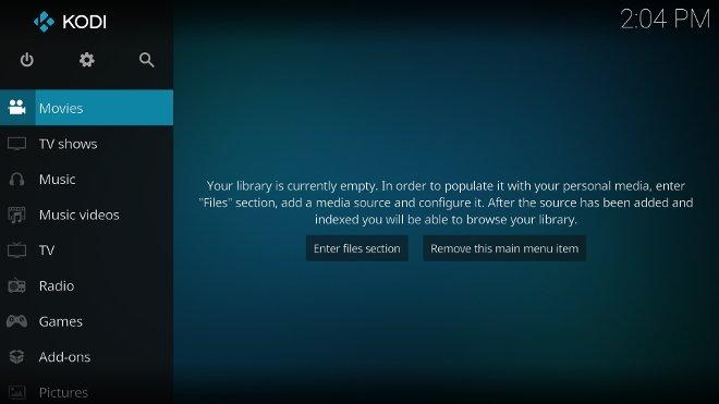 Android TVにインストールされ起動されたKodi