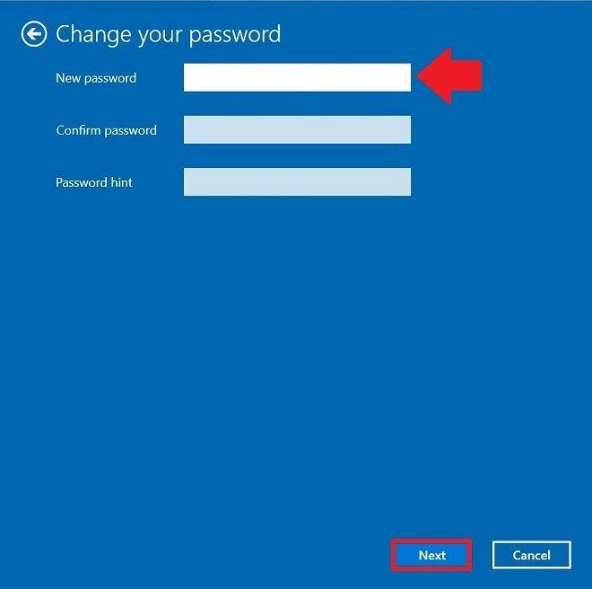 新しいパスワードを空白にする