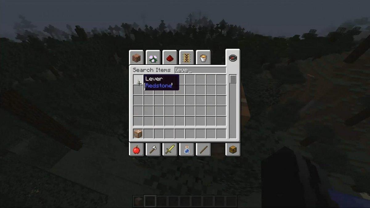 Palanca en el inventario de Minecraft