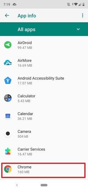 Lista de apps