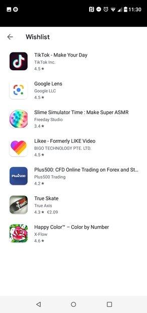 Lista di app e giochi desiderati