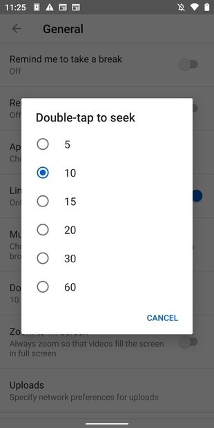 List of options to set the time
