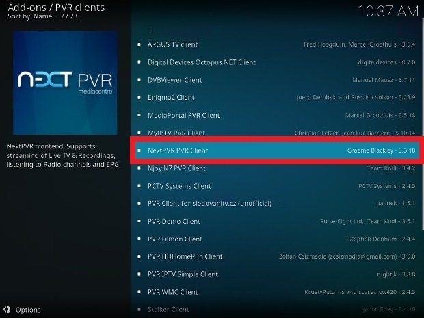 Lista di client PVR disponibili in Kodi