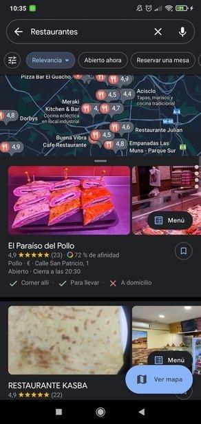 Listado de restaurantes en la zona seleccionada