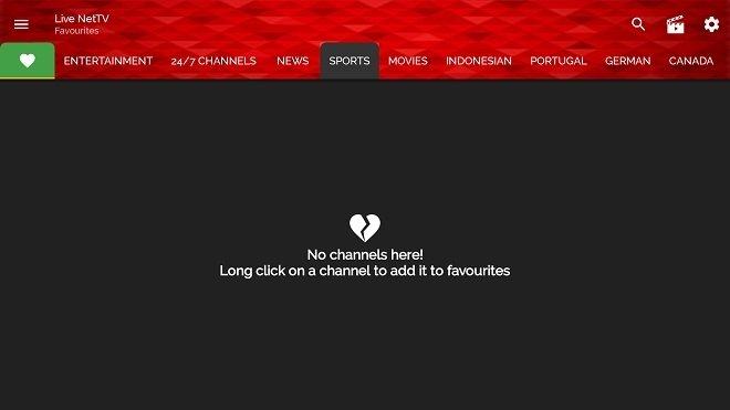 Live NetTV fonctionnant sur une Fire TV