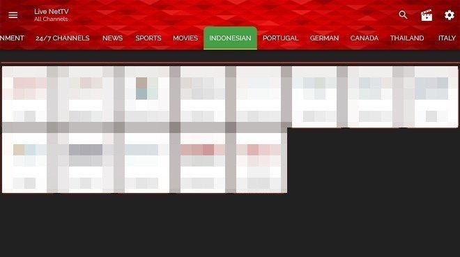 Interface de Live NetTV dans Android TV