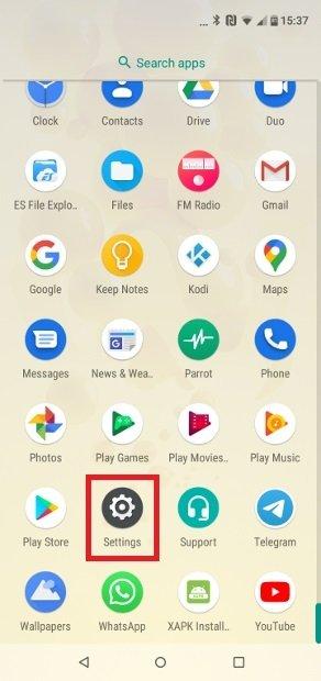 Localisez l'accès aux paramètres Android