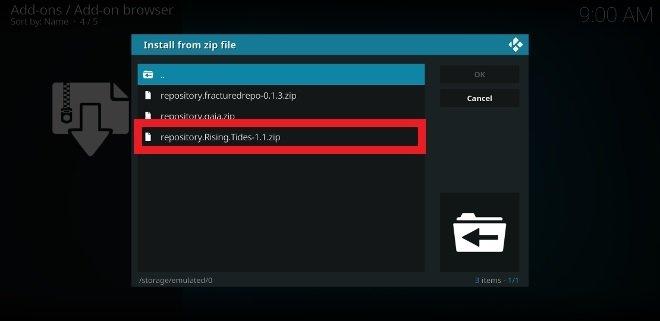 Trova il file ZIP con il file manager