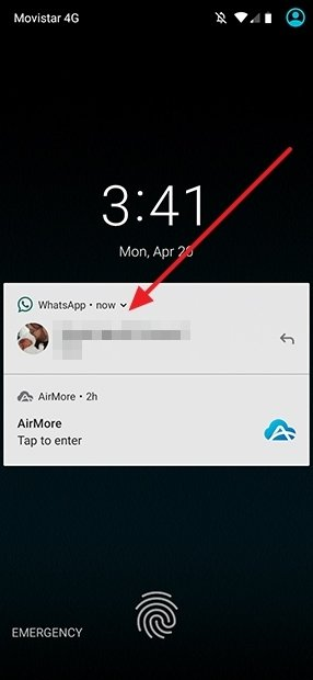 Notificación en pantalla de bloqueo