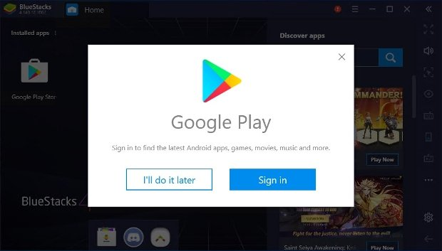Login sur Google Play depuis BlueStacks