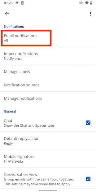 Main notification settings