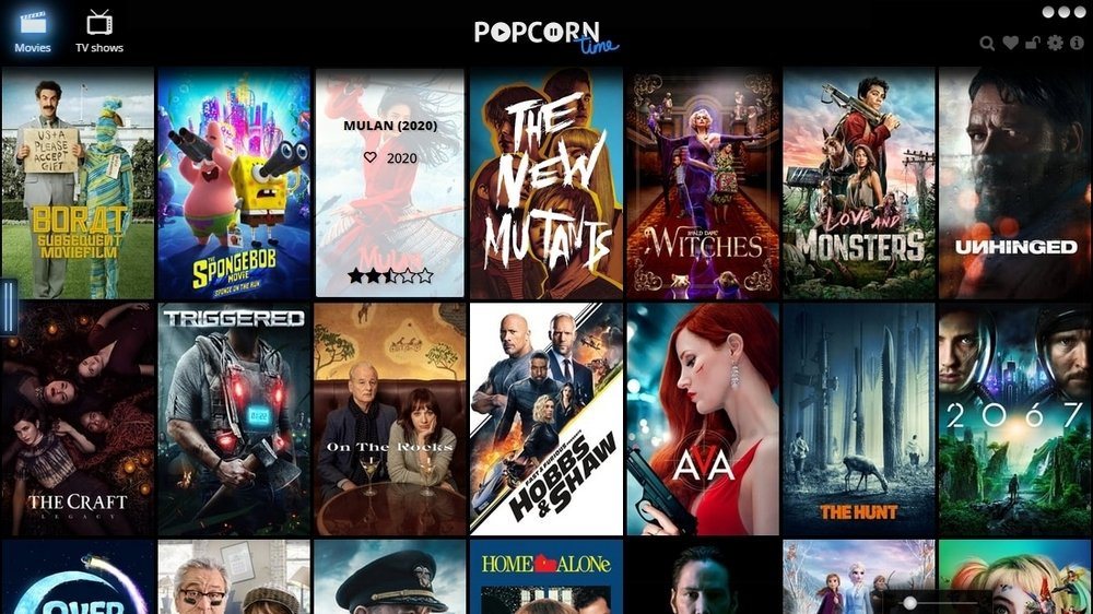 Main view of Popcorn Time