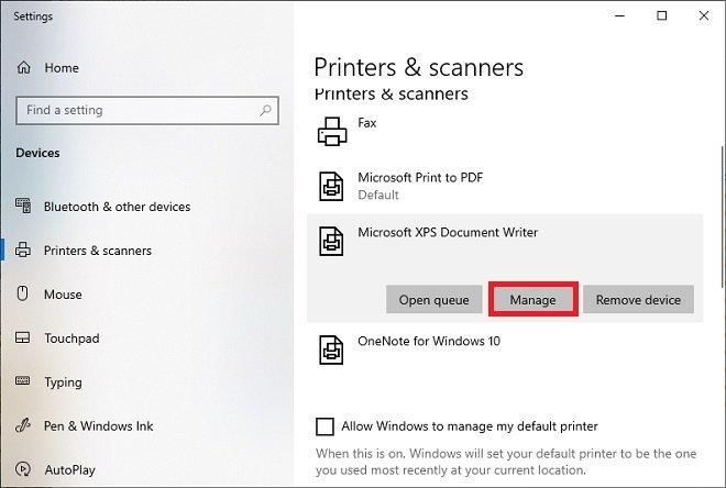Administrar impresora