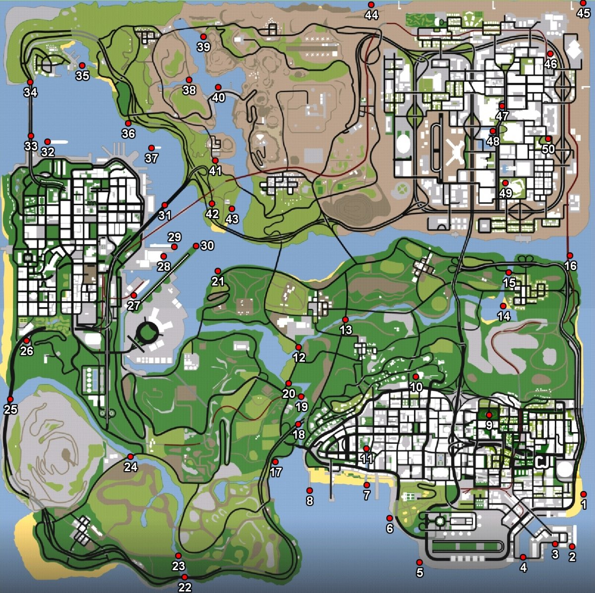 Mapa de ostras en GTA San Andreas