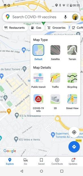 Vistas de mapa disponibles