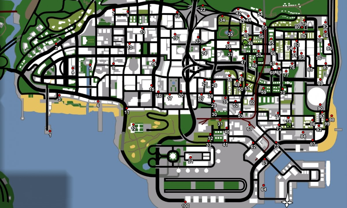 Map with all the graffiti in GTA San Andreas