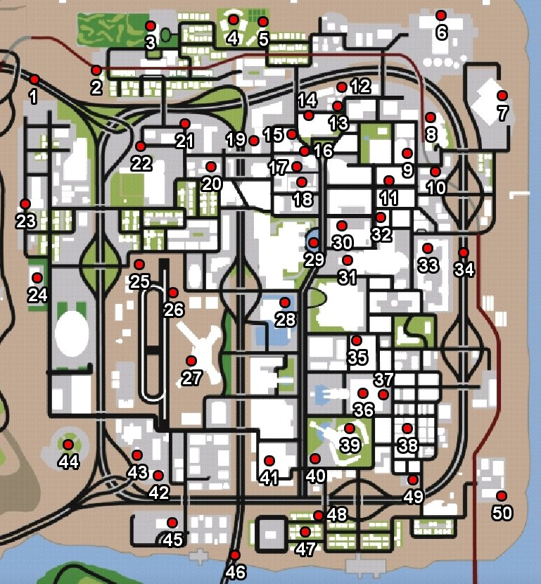 Map with all the horseshoes