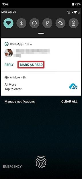 Marcar el mensaje como leído desde la pantalla de bloqueo