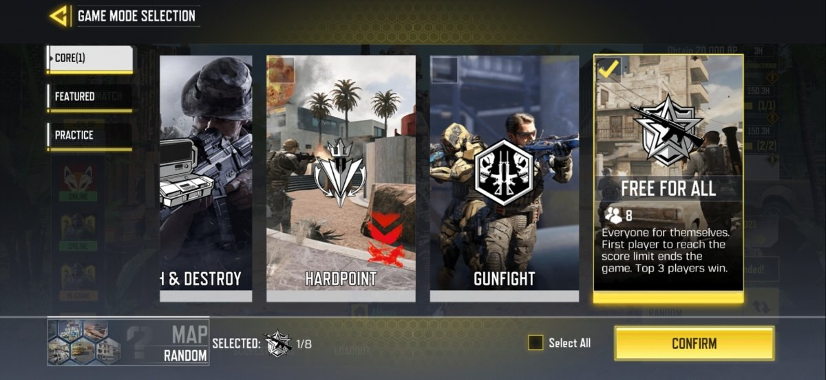 Menu to select the Free for All mode