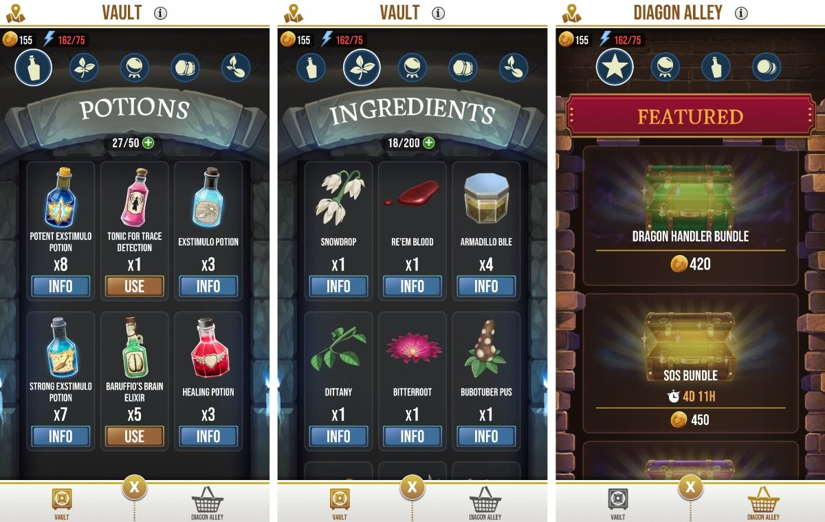 Menus in the Vault section