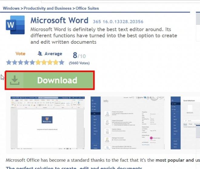 Microsoft Word datasheet on Malavida