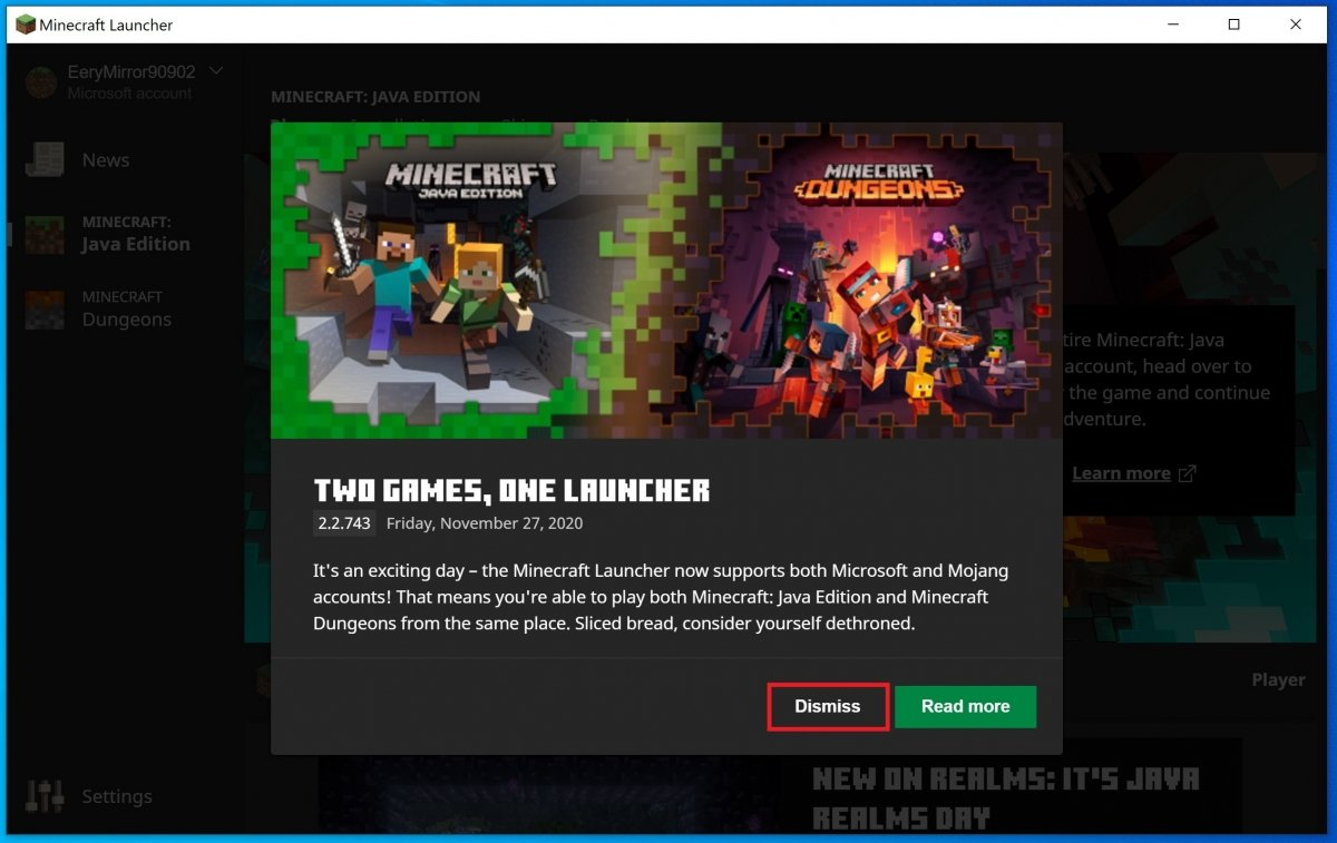 Minecraft launcher notifications