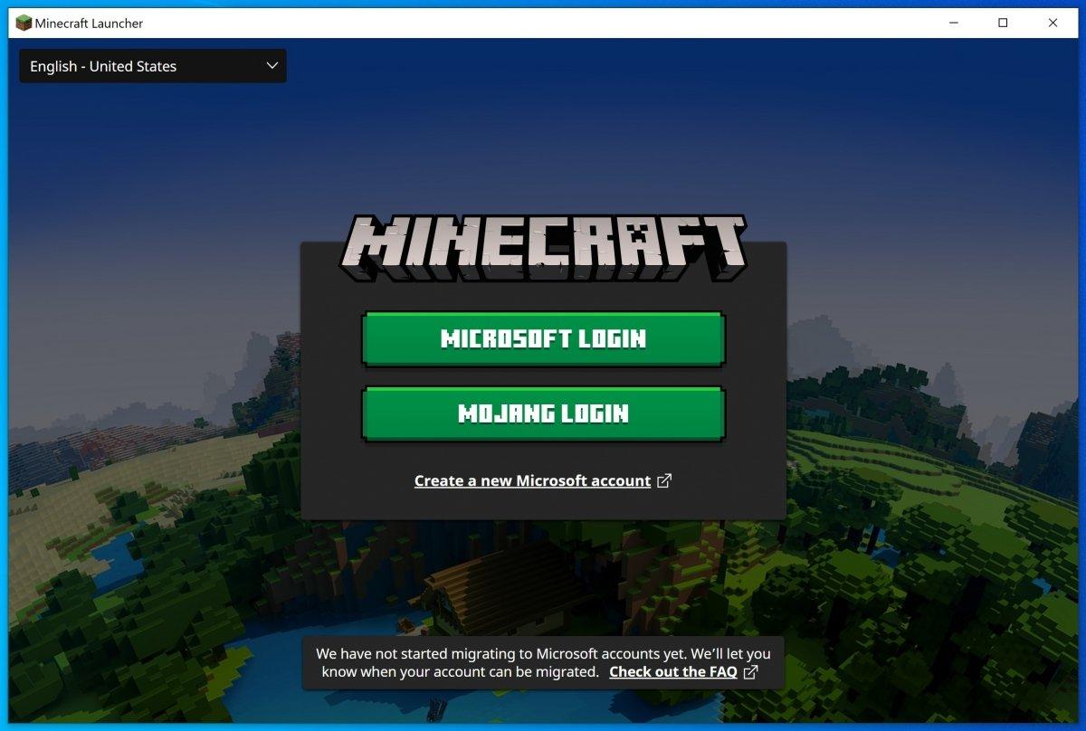 Pantalla de login en Minecraft