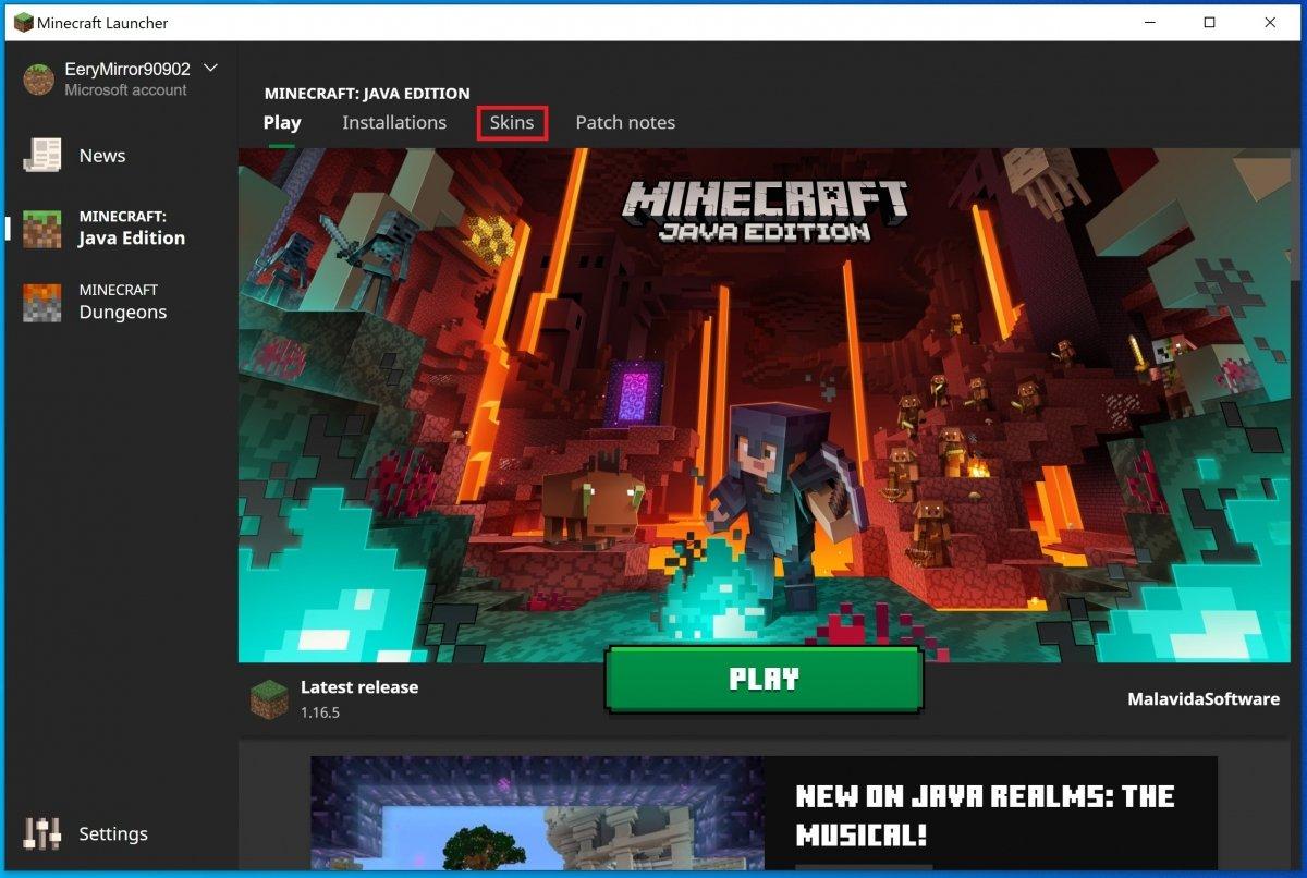 Onglet Skins de Minecraft