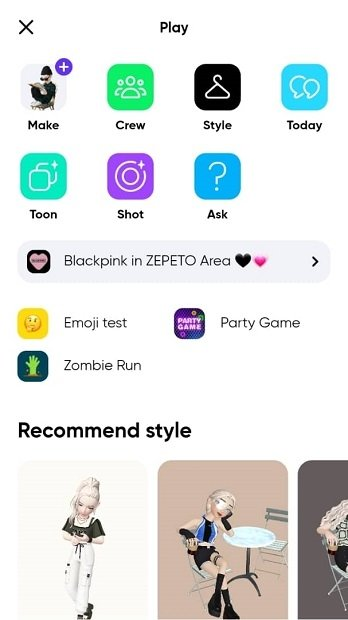 Mini-games available in Zepeto