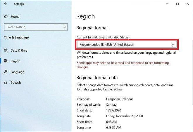 Modify the regional details