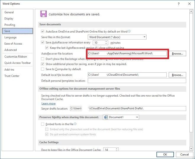 Modificar el directorio temporal de Word
