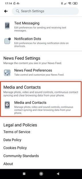 Sección de multimedia y contactos