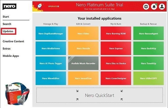 Actualizaciones de Nero