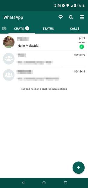 Nova mensagem recebida no WhatsApp Plus