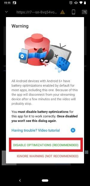 アプリのバッテリー最適化に関する通知