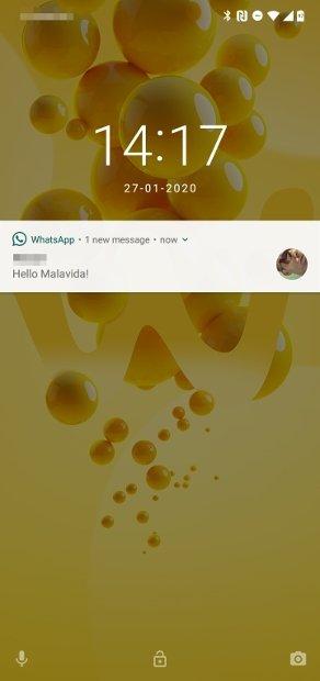 Notificação de nova mensagem recebida no WhatsApp Plus