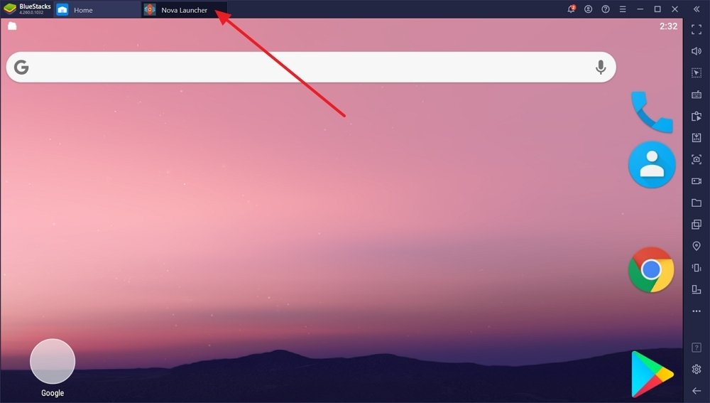 Nova Launcher running on BlueStacks in a separate instance