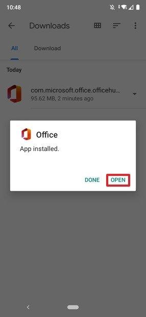 Office instalado desde Files