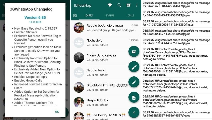 Screenshot dell'interfaccia di OGWhatsApp