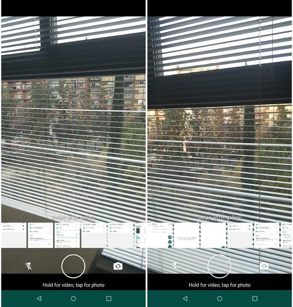 À gauche, l'appareil photo WhatsApp Plus, à droite, celui de la GBWhatsApp