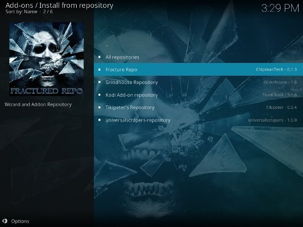 Online repositories available on Kodi