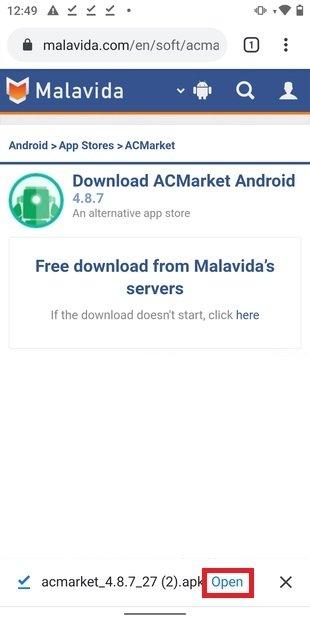 Ouvrir le fichier APK téléchargé depuis le navigateur