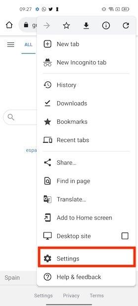 Aprire le impostazioni di Chrome