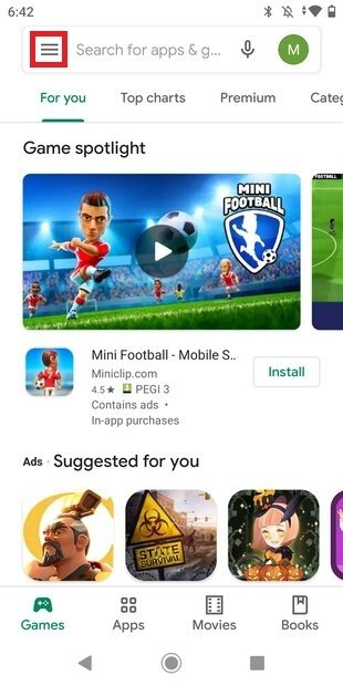 Ouvrir le menu principal de Google Play