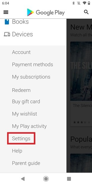 Aprire le impostazioni di Google Play