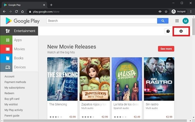 Abrir ajustes de Google Play en un PC